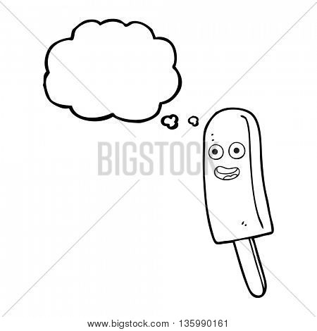 freehand drawn thought bubble cartoon ice lolly