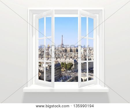 Opened window and view on Eiffel tower and Paris. 3d render