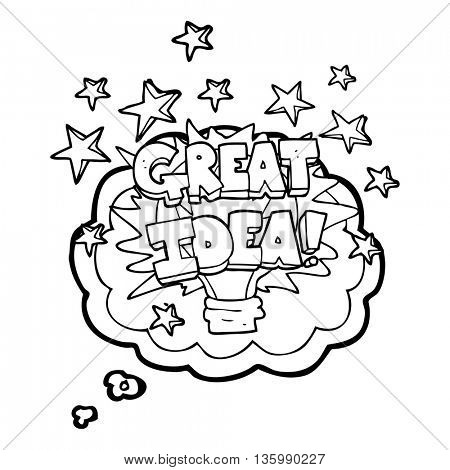 freehand drawn thought bubble cartoon great idea light bulb symbol