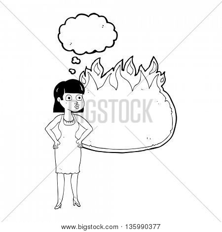 freehand drawn thought bubble cartoon woman in dress with hands on hips and flame banner