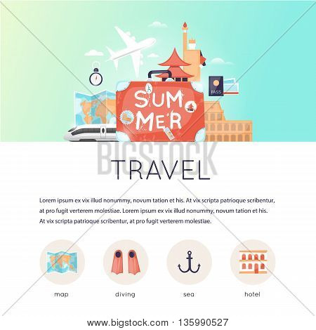 Page web design template World Travel, summer vacation, tourism and journey, traveling set of icons. Vintage suitcase with stickers. Flat design vector illustration.