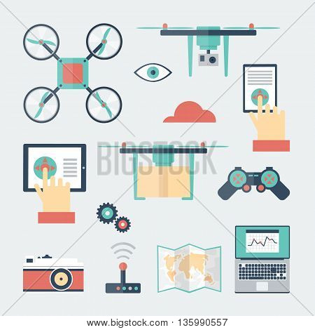 Drone with a camera, shipping, surveillance, control. New technologies. Flat design vector illustrations.
