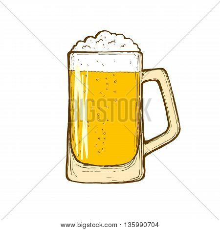 Glass of beer isolated on white background hand-drawing. Vector.