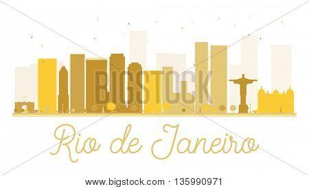 Rio de Janeiro City skyline golden silhouette. Vector illustration. Cityscape with landmarks