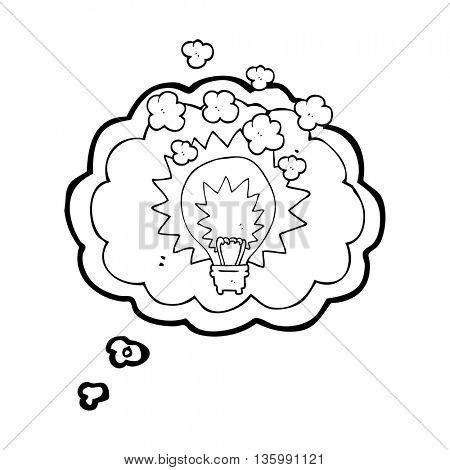 freehand drawn thought bubble cartoon light bulb shining