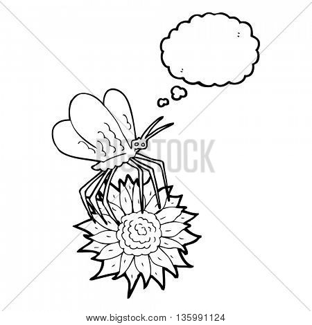 freehand drawn thought bubble cartoon butterfly on flower