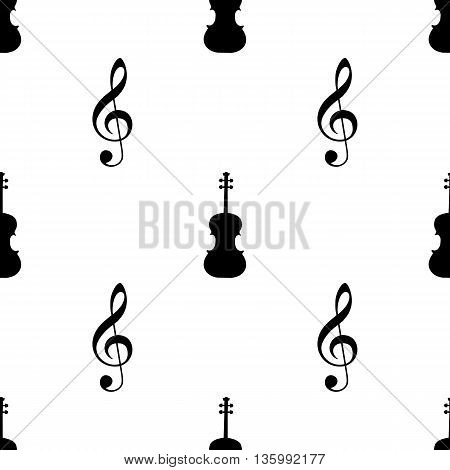 Seamless pattern with musical signs. Vector illustration