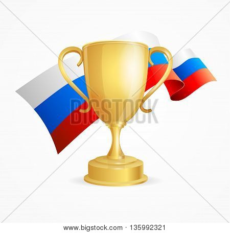 Russia Winning Golden Cup Concept for Competitions Isolated on White Background. Vector illustration