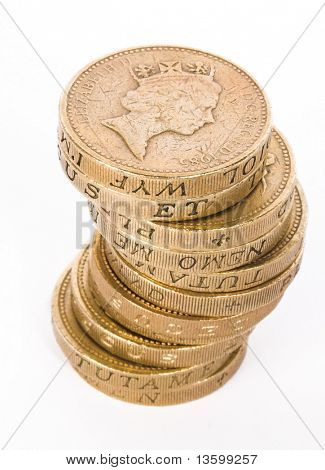 british pound coins over white
