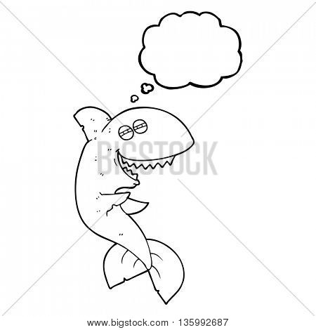 freehand drawn thought bubble cartoon laughing shark