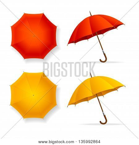 Umbrellas Set Top and Front View. Red and Orange. Seasonal Accessory. Vector illustration