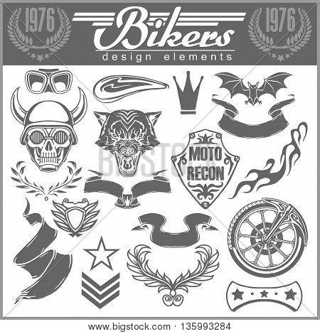 Set of vintage motorcycle design elements for emblems and labels, badges and logos
