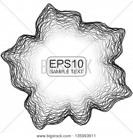 Abstract vector monochrome mesh on dark background. Futuristic style card. Elegant background for banner. Chaos aesthetics.