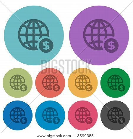Color online payment flat icon set on round background.