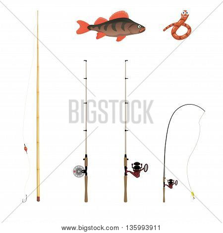 Fishing Rods On A White Background