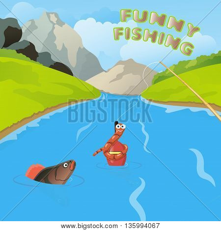 funny fishing worm and fish vector illustration