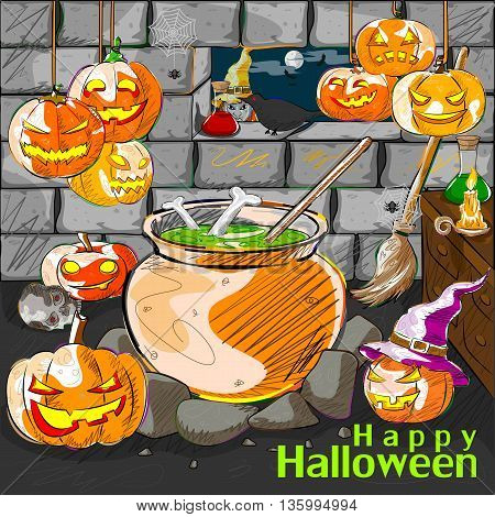Vector design of Halloween greeting background with Jack-o-lantern pumpkin