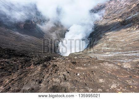 smoke in hole Bromo vocalno East Java Indonesia