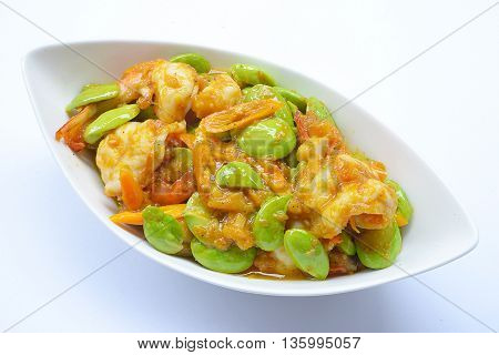 close up Stir-fried stink bean with shrimp