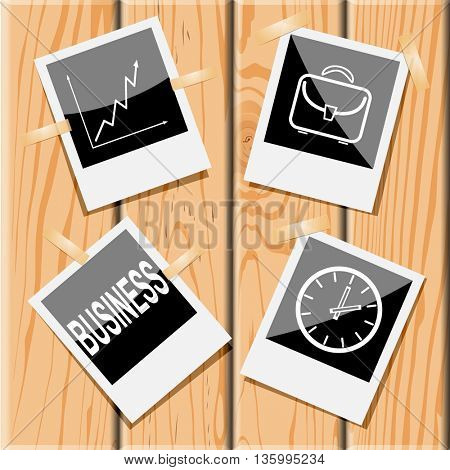 4 images: diagram, briefcase, clock, business. Business set. Photo frames on wooden desk. Vector icons.
