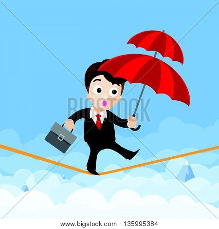 Business man cartoon holding umbrella and walking on the robe the risk of business concept vector illustration eps10