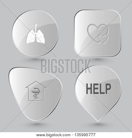 4 images: lungs, careful heart, pharmacy, help. Medical set. Glass buttons on gray background. Vector icons.