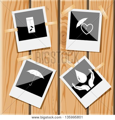 4 images: glass with tablets, protection love, umbrella, protection blood. Medical set. Photo frames on wooden desk. Vector icons.