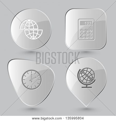 4 images: shift globe, calculator, clock. Education set. Glass buttons on gray background. Vector icons.