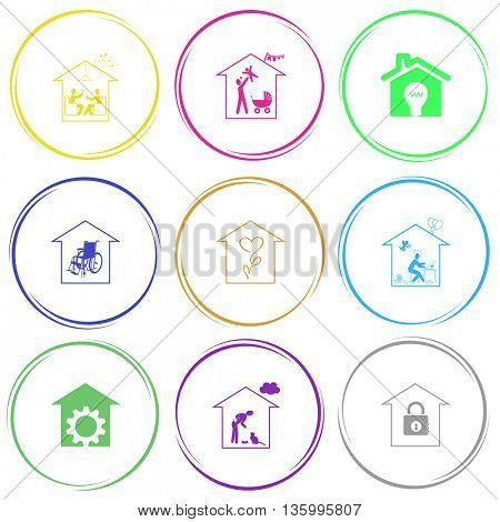 9 images: home celebration, family home, light in home, nursing home, flower shop, home inspiration, repair shop, home cat, bank. Home set. Internet button. Vector icons.