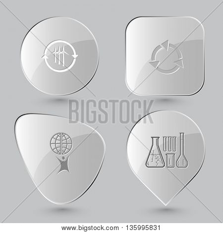 4 images: wind turbine, recycle symbol, little man with globe, chemical test tubes. Ecology set. Glass buttons on gray background. Vector icons.