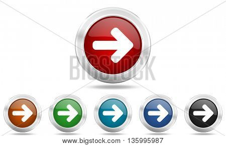 right arrow round glossy icon set, colored circle metallic design internet buttons