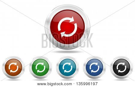 reload round glossy icon set, colored circle metallic design internet buttons