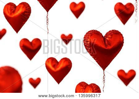Red heart balloons isolated on white background. 3D illustration.