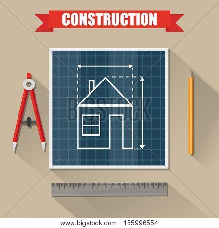 Architectural project. Construction. Building and planning. Engineer wooden desktop with house Building plan, Compass Divider, pencil, ruler. vector illustration in flat style on brown background