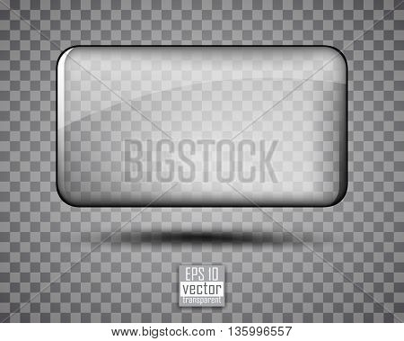 Transparent glass frame on a gray background in small cell