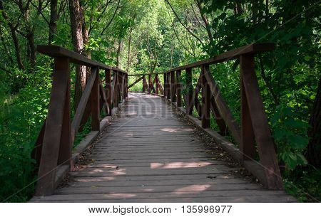 The wooden bridge stretches into the distance. The bridge in the Park
