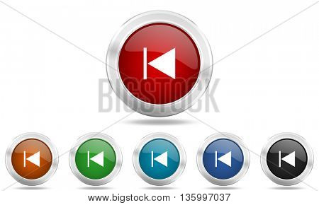 prev round glossy icon set, colored circle metallic design internet buttons
