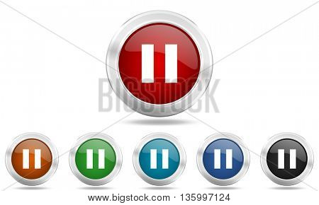 pause round glossy icon set, colored circle metallic design internet buttons