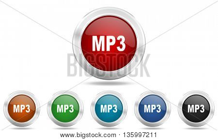 mp3 round glossy icon set, colored circle metallic design internet buttons