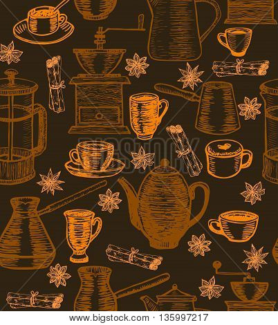 vector dark hand-drawn coffee background with coffee pots cups cesves grinders and spices