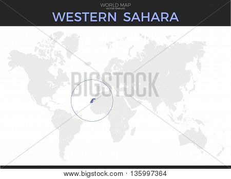 Western Sahara location modern detailed vector map. All world countries without names. Vector template of beautiful flat grayscale map design with selected country and border location