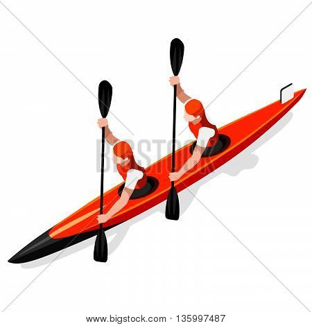 Kayak Sprint Doubles Summer Games Icon Set.3D Isometric Canoeist Paddler.Sprint Kayak Sporting Competition Race.Sport Infographic Canoe Kayak Vector Illustration