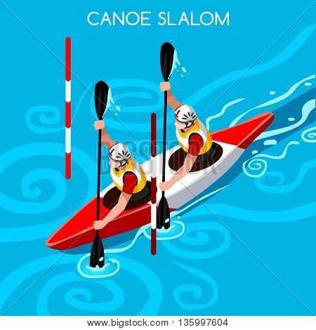 Kayak Slalom Doubles Canoe Summer Games Icon Set.3D Isometric Canoeist Paddler.Slalom Kayak Sporting Competition Race.Sport Infographic Kayak Slalom Vector Illustration