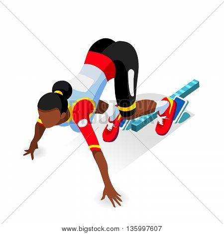 Sprinter Runner Athlete at Starting Line Athletics Race Start Summer Games Icon Set.3D Flat Isometric Sport of Athletics Runner Athlete at Starting Blocks.Sport Infographic Vector Image.