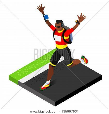Marathon Runners Athletic Training Working Out Gym. Runners Running Athletics race Working Out for international championship competition. 3D Flat Isometric Marathon Gym Training Vector Image.