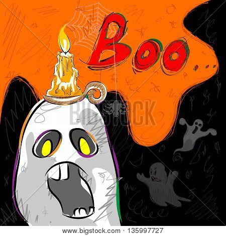 Vector design of Halloween greeting background with flying boo ghost