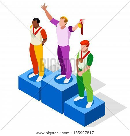 Olympics Winner Podium Sports Icon Set.Speed Concept.3D Isometric Athlete.Sporting Competition.Olympics Sport Infographic Winner Podium Vector Illustration.