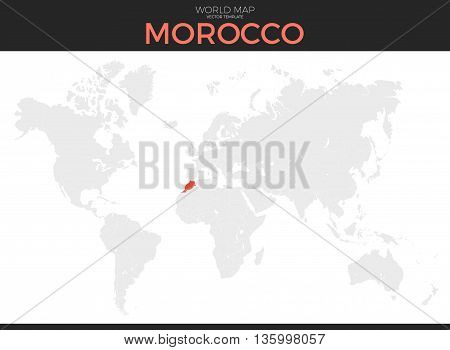 Kingdom of Morocco location modern detailed vector map. All world countries without names. Vector template of beautiful flat grayscale map design with selected country and border location