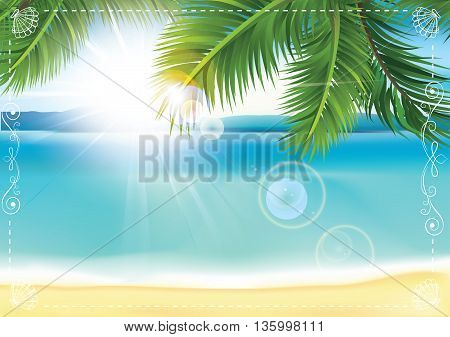 Summer seaside background with ocean / sea view and palm trees. Copy-space for your own text. Print colors used
