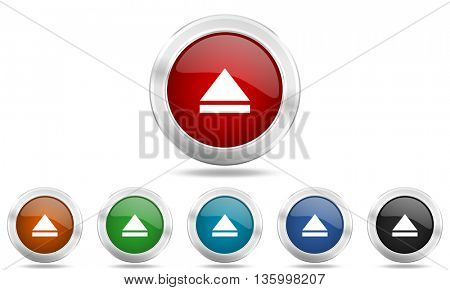 eject round glossy icon set, colored circle metallic design internet buttons